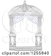 Clipart Of A Formal Wedding Cabana Tent With Drapes Royalty Free Vector Illustration
