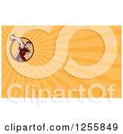 Clipart Of A Retro Woodcut Discus Thrower Business Card Design Royalty Free Illustration