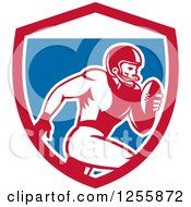 Clipart Of A Retro American Football Player Running In A Shield Royalty Free Vector Illustration by patrimonio