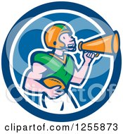 Clipart Of A Cartoon American Football Player Using A Megaphone In A Blue Circle Royalty Free Vector Illustration by patrimonio