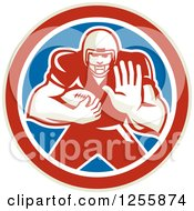 Clipart Of A Retro American Football Player Fending Off In A Red White And Blue Circle Royalty Free Vector Illustration