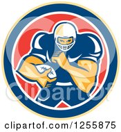 Clipart Of A Retro American Football Player In A Red White And Blue Circle Royalty Free Vector Illustration