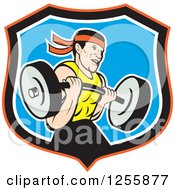 Clipart Of A Cartoon Male Bodybuilder Working Out With A Barbell In A Shield Royalty Free Vector Illustration