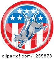 Clipart Of A Retro Rodeo Cowboy On A Bull In An American Flag Circle Royalty Free Vector Illustration by patrimonio