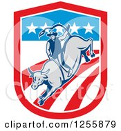 Retro Rodeo Cowboy On A Bull In An American Flag Shield