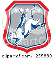 Clipart Of A Retro Rodeo Cowboy On A Bull In A Shield Royalty Free Vector Illustration by patrimonio