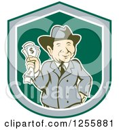 Clipart Of A Happy Rich Man Holding Cash Money In A Shield Royalty Free Vector Illustration by patrimonio