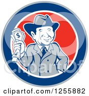 Clipart Of A Happy Rich Man Holding Cash Money In A Circle Royalty Free Vector Illustration