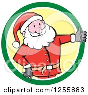 Clipart Of A Cartoon Santa Holding A Thumb Up In A Green And Yellow Circle Royalty Free Vector Illustration by patrimonio