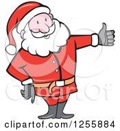 Clipart Of A Cartoon Santa Holding A Thumb Up Royalty Free Vector Illustration