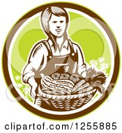 Clipart Of A Retro Woodcut Female Farmer Holding A Basket Of Produce In A Circle Royalty Free Vector Illustration