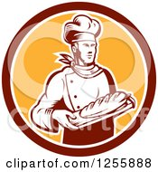 Retro Woodcut Male Baker With Bread In A Circle