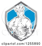 Clipart Of A Retro Woodcut Male Chef Mixing In A Shield Royalty Free Vector Illustration