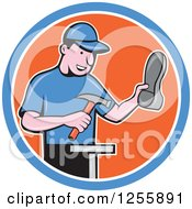 Clipart Of A Cartoon Male Shoe Maker Cobbler Working In A Blue White And Orange Circle Royalty Free Vector Illustration