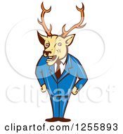 Clipart Of A Cartoon Deer Businessman Standing In A Suit Royalty Free Vector Illustration by patrimonio