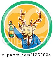 Clipart Of A Cartoon Deer Businessman Cheering With Wine In A Circle Royalty Free Vector Illustration by patrimonio