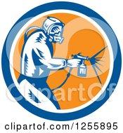 Poster, Art Print Of Retro Woodcut Painter Using A Spray Gun In A Blue White And Orange Circle