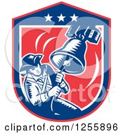 Clipart Of A Retro Woodcut Patriot Ringing A Liberty Bell In An American Shield Royalty Free Vector Illustration