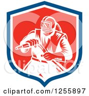 Clipart Of A Retro Woodcut Sandblaster In A Shield Royalty Free Vector Illustration by patrimonio