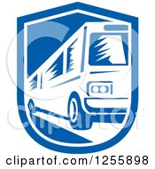 Clipart Of A Retro Woodcut Bus In A Shield Royalty Free Vector Illustration