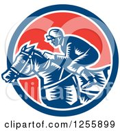 Clipart Of A Retro Woodcut Jockey Racing A Horse In A Red White And Blue Circle Royalty Free Vector Illustration by patrimonio