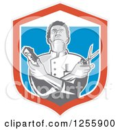 Retro Woodcut Barber Holding Scissors And Clippers In A Shield