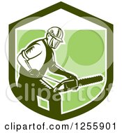 Clipart Of A Retro Woodcut Arborist Using A Chainsaw In A Green Shield Royalty Free Vector Illustration