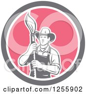 Clipart Of A Retro Housepainter With An Art Paintbrush In A Circle Royalty Free Vector Illustration by patrimonio
