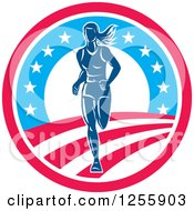 Clipart Of A Female Marathon Runner In An American Circle Royalty Free Vector Illustration