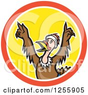 Clipart Of A Cartoon Victorious Turkey Bird Cheering In A Circle Royalty Free Vector Illustration