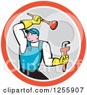 Clipart Of A Cartoon Male Plumber With Tools In A Circle Royalty Free Vector Illustration