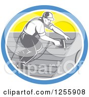 Clipart Of A Retro Male Roofer Working In A Yellow Blue And White Oval Royalty Free Vector Illustration by patrimonio