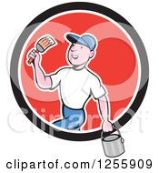 Poster, Art Print Of Cartoon Male House Painter With A Bucket And Brush In A Circle
