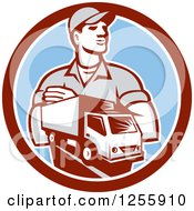 Clipart Of A Retro Delivery Man And Truck In A Circle Royalty Free Vector Illustration