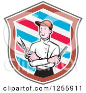 Clipart Of A Cartoon Male Barber With Scissors And A Comb In A Striped Shield Royalty Free Vector Illustration by patrimonio