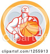 Retro Basketball Player Holding Out A Ball In A Gray And Orange Circle