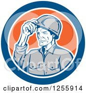 Clipart Of A Retro Male Builder Tipping His Hardhat In A Blue And Orange Circle Royalty Free Vector Illustration