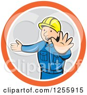 Clipart Of A Cartoon Construction Worker Directing Traffic Royalty Free Vector Illustration by patrimonio