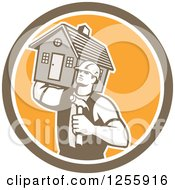 Retro Male Home Builder Carrying A House And Hammer In A Circle
