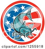 Clipart Of A Cartoon Catfish Over An American Flag Circle Royalty Free Vector Illustration by patrimonio