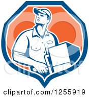 Clipart Of A Retro Male Delivery Man Delivering In A Shield Royalty Free Vector Illustration