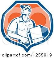Retro Male Delivery Man Delivering In A Shield