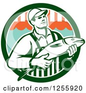Clipart Of A Retro Fishmonger In A Market Circle Royalty Free Vector Illustration