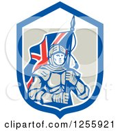 Clipart Of A Retro Knight With A Union Jack Flag In A Shield Royalty Free Vector Illustration by patrimonio