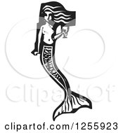 Clipart Of A Black And White Woodcut Mermaid With A Goblet Of Wine Royalty Free Vector Illustration