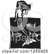 Black And White Woodcut Mermaid With A Goblet Of Wine Over Fish
