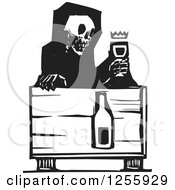 Clipart Of A Black And White Woodcut Death Skeleton With Wine At A Table Royalty Free Vector Illustration by xunantunich