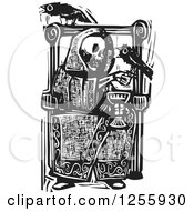 Clipart Of A Black And White Woodcut Death Skeleton Drinking Wine With Ravens At A Throne Royalty Free Vector Illustration by xunantunich