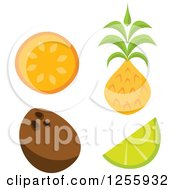 Clipart Of A Tiki Style Tropical Orange Coconut Lime And Pineapple Fruits Royalty Free Vector Illustration