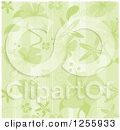 Green Hibiscus Flower And Stripes Background